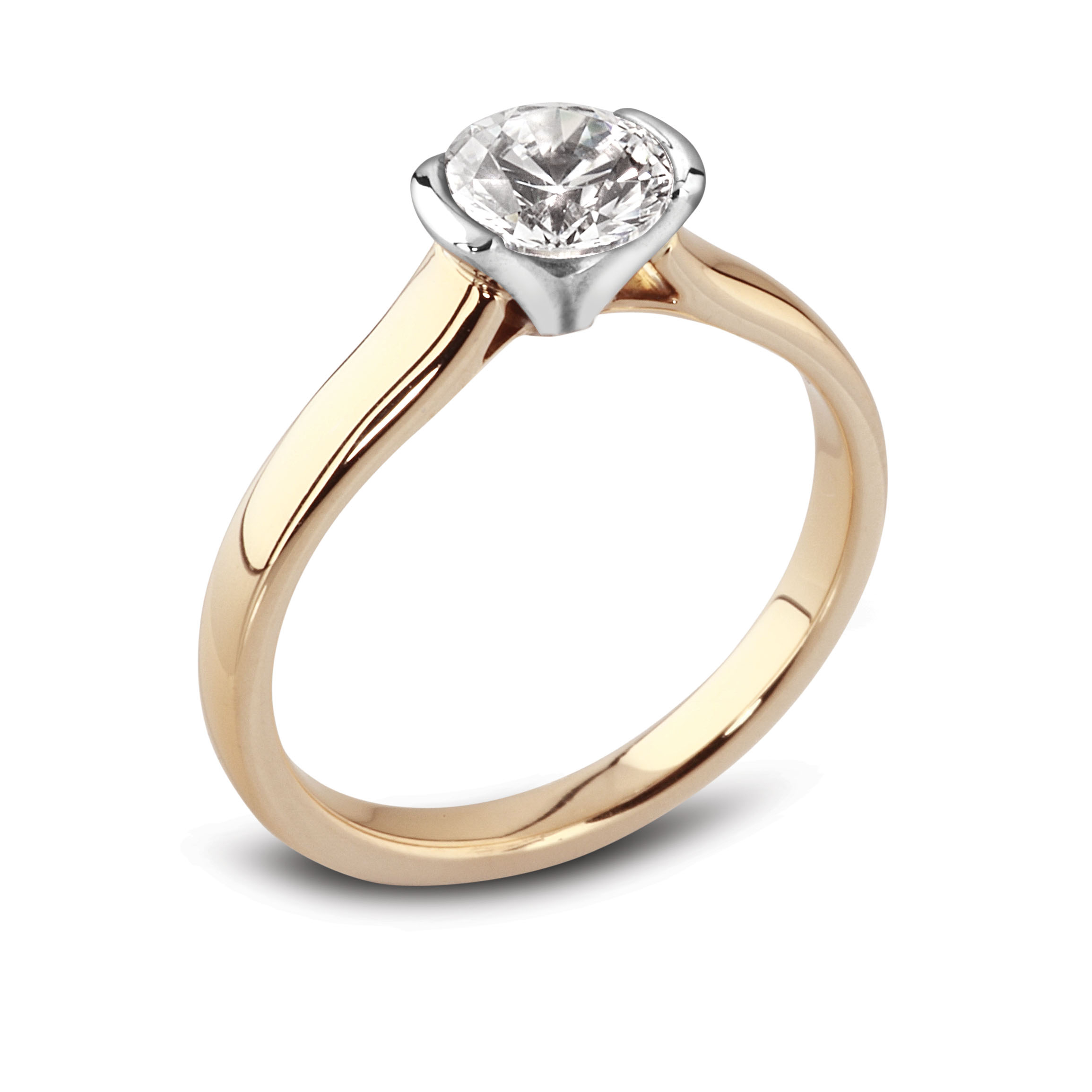 in engagement gold plain shank halo with and bezel pave white diamond rings flat round ring