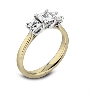 Donna Fabulous Three Stone Princess Cut Trilogy Engagement Ring