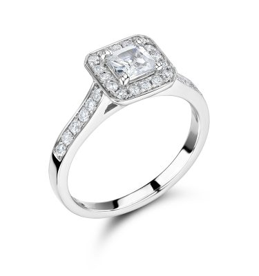 Crystal Princess Cut Diamond Single Halo Shoulder Set Engagement Ring