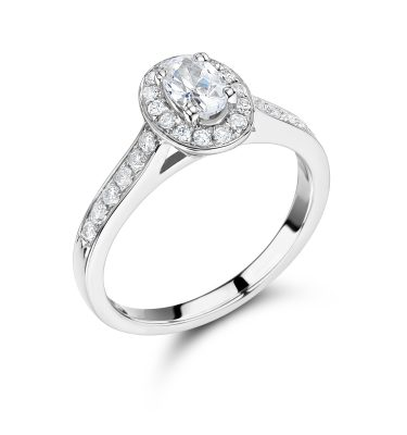 Damara Oval Diamond Single Halo Shoulder Set Ring