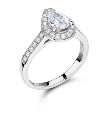 Decima Pear Shaped Single Halo Shoulder Set Engagement Ring