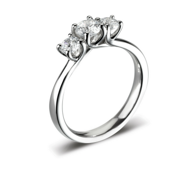 Eviana Remarkable Round Diamond Trilogy Engagement Ring
