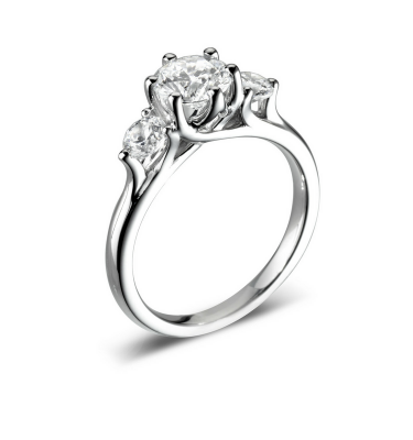 Flora Extraordinary Three Round Diamond Engagement Ring