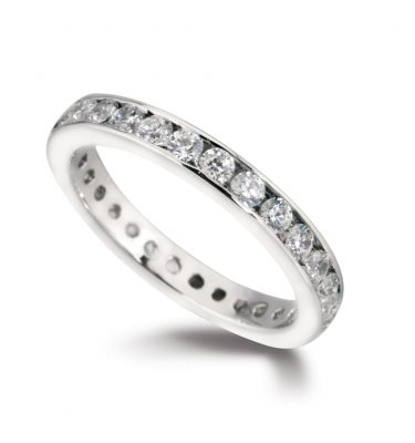 Riva elegant round diamond half set eternity ring