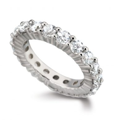 Ruby round diamond full eternity ring