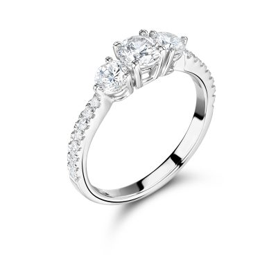 Gloria Fantastic Round Trilogy Ring With Diamond Shoulders