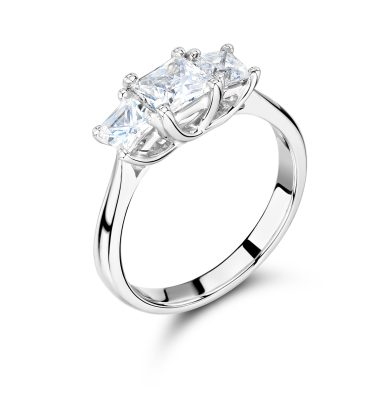 Hadrea Princess Cut Trilogy Engagement Ring