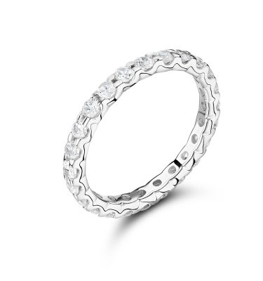 Keavy round diamond prong setting eternity ring