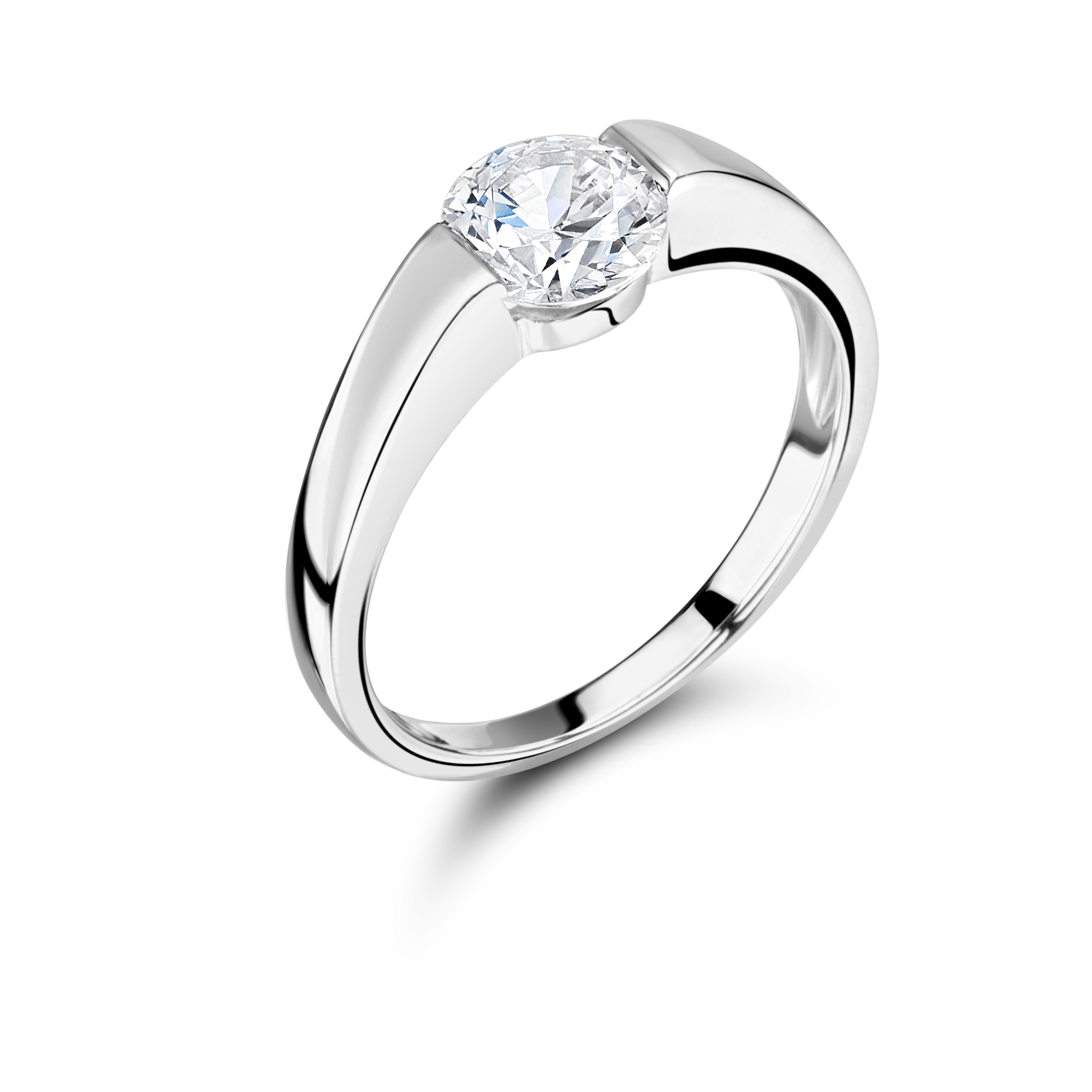 with cut band style brilliant gold in rings rose rounded engagement half eternity product diamond wedding prongs