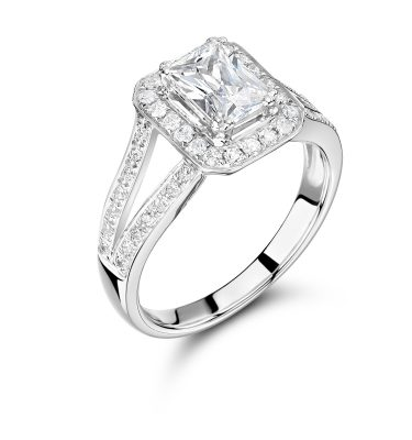 Cameo Phenomenal Double Shoulder Emerald Cut Halo Engagement Ring