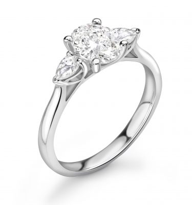 Carly Beautiful Oval and Pear Trilogy Engagement Ring
