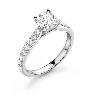 Jacqui Fantastic Shoulder Set Round Diamond Engagement Ring