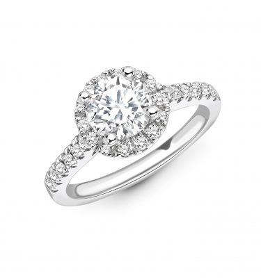 Purna Amazing Round Diamond Halo Ring With Diamond Set Shoulders
