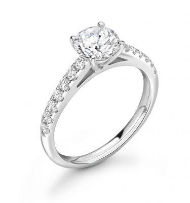 Natalie Round Shoulder Set Diamond Engagement Ring