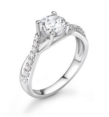 Nevaeh Modern Twist Round Diamond Shoulder Set Ring