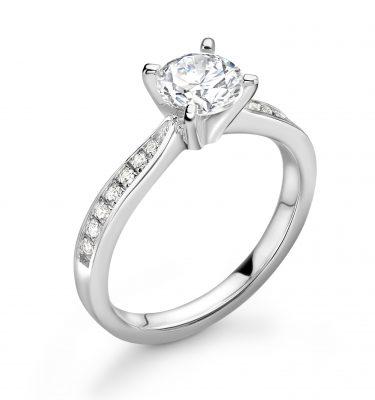 Aubree Perfect Round Diamond Shoulder Set Diamond Engagement Ring