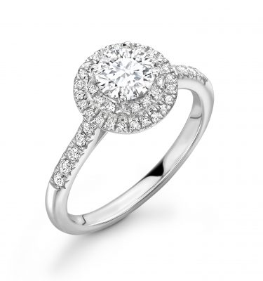 Delilah Round Diamond Double Halo Shoulder Set Engagement Ring