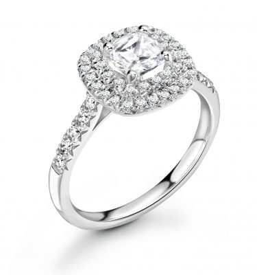 Willow Cushion Cut Double Halo Engagement Ring With Diamond Set Shoulders