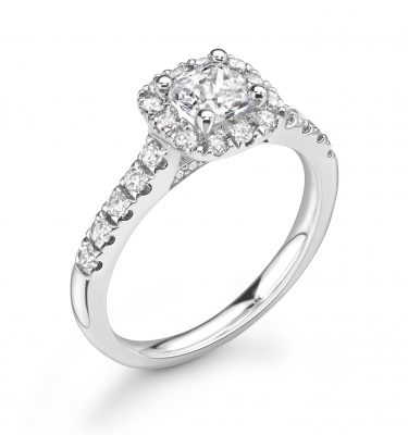 Everly Cushion Diamond Halo Ring With Diamond Shoulders