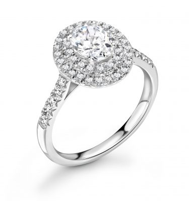 Leilani Oval Diamond Double Halo Ring With Diamond Set Shoulders