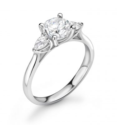 Aria Round and Pear Diamond Trilogy Ring