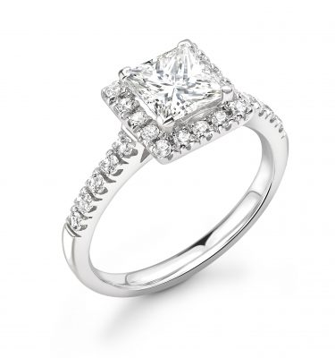 Peyton Princess Diamond Single Halo Engagement Ring