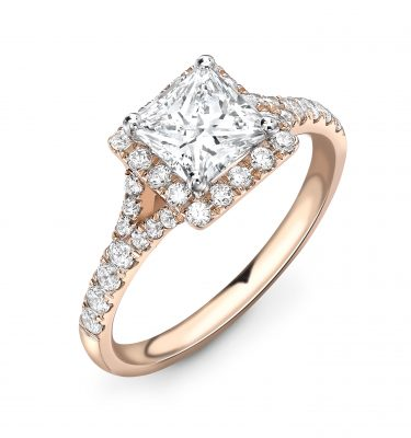 Shenaz Princess Cut Halo Ring With Diamond Set Shoulders