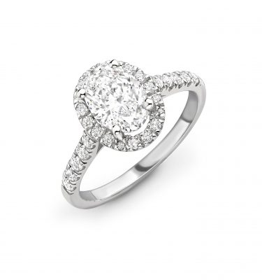 Kinsley Oval Diamond Single Halo Shoulder Set Engagement Ring