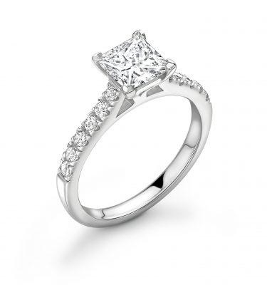 Bailey Princess Cut Diamond Shoulder Set Engagement Ring