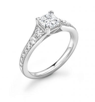 Brielle Princess Cut Shoulder Set Diamond Engagement Ring