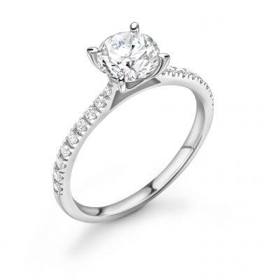 Emery Round Shoulder Set Diamond Engagement Ring