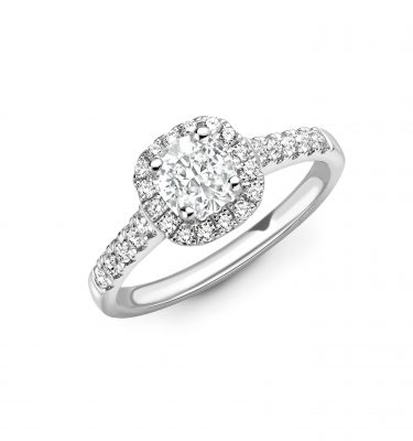 Eleanor Cushion Halo Diamond Set Shoulder Engagement Ring