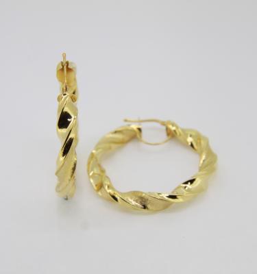 4.5cm yellow gold hoop earrings