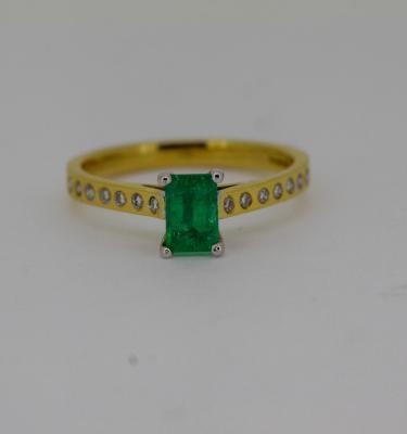 Diamond Set Green Emerald Engagement Ring