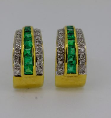 Natural Emerald Earrings In Yellow Gold