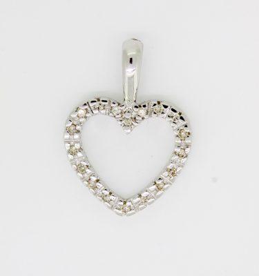 Heart Pendant 0.25ct In White Gold Chain