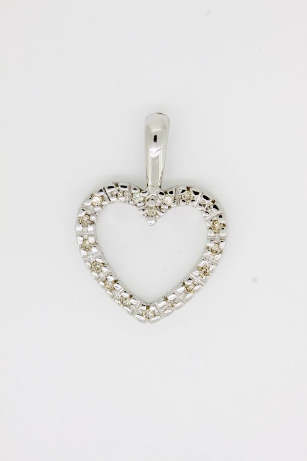 Heart Pendant 0.25ct In White Gold Chain