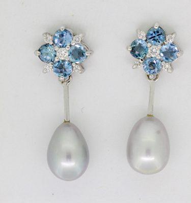 White Gold Pearl and Aquamarine Earrings