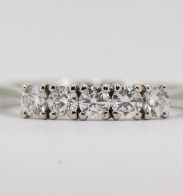 Brilliant Round Cut 0.50ct Total Five Stone Diamond Eternity Ring In 950 Platinum. £750