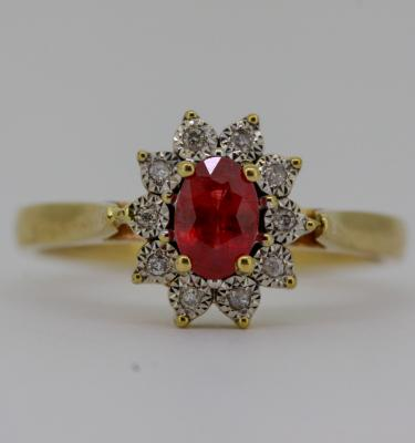 0.50ct Ruby Halo Engagement Ring