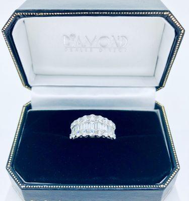 Baguette & Round Diamond Triple Row Eternity Ring 18K Yellow Gold
